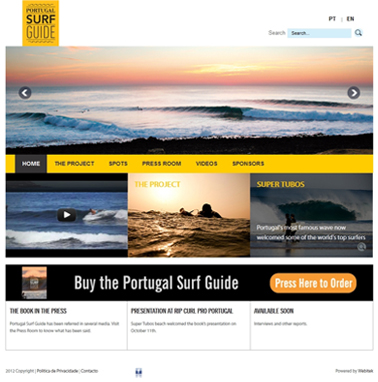 Criação de website Portugal Surf Guide